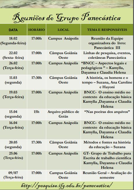 Reuniões do Grupo Panecastica.