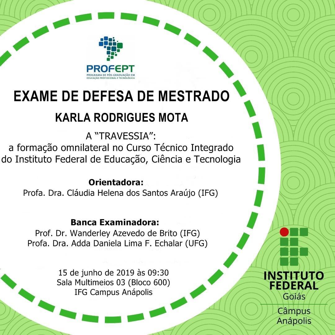 Defesa de Mestrado: Karla Rodrigues Mota.