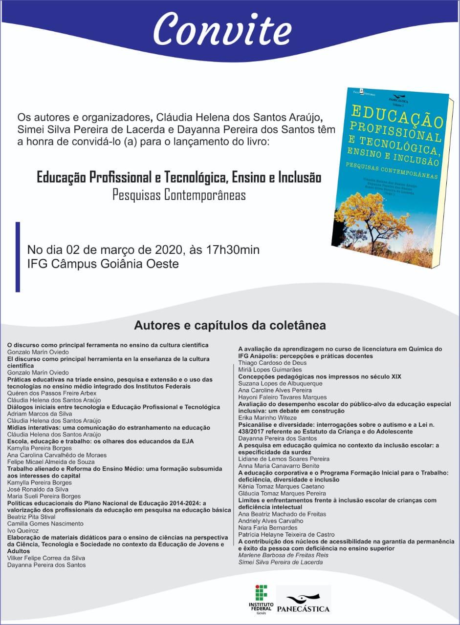 Divulgação – Lançamento do Livro – Educação Profissional e tecnológica, Ensino e Inclusão.